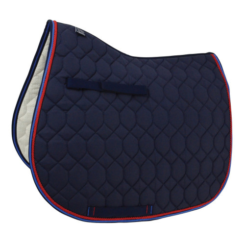 Hy Signature GP Saddle Pad in Navy, Red and Blue in Pony/Cob