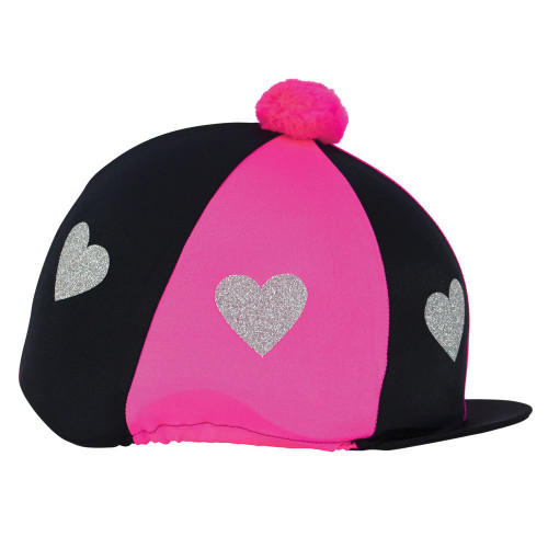 Love Heart Glitter Hat Cover by Little Rider - Hot Pink/Black - One Size