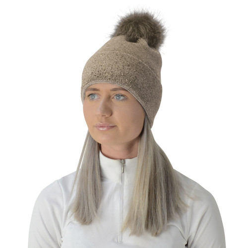 Hy Equestrian Alaska Diamante Bobble Hat - Beige/Gold - One Size