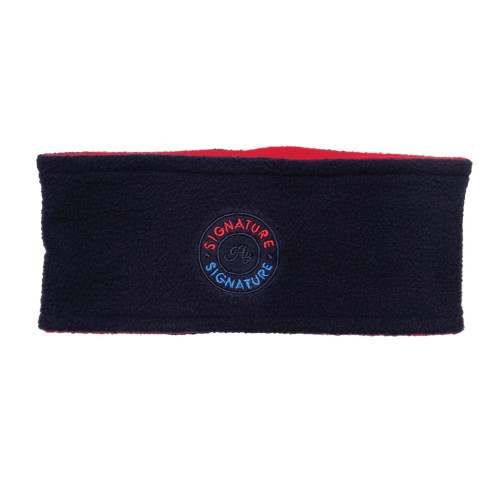 Hy Signature Soft Fleece Headband in Navy and red on a model