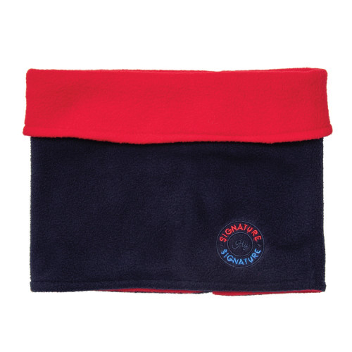 Hy Signature Soft Fleece Neck Warmer in Navy and red on model