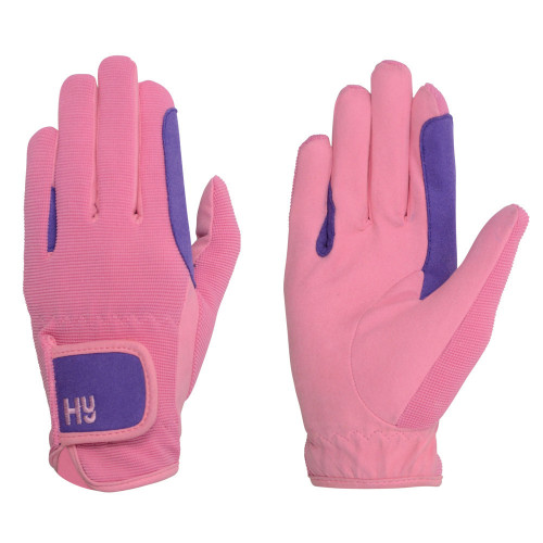Hy5 Children's Two Tone Riding Gloves in Purple/Pink in Child Large