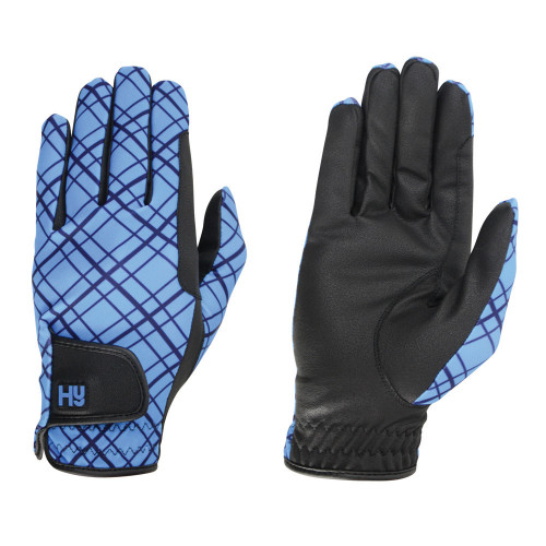 Hy5 Lightweight Printed Riding Gloves in Blue Check in extra small
