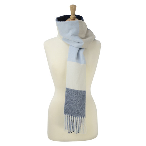 HyFASHION Cumbria Soft Touch Scarf - Navy/White/Light Blue - One Size