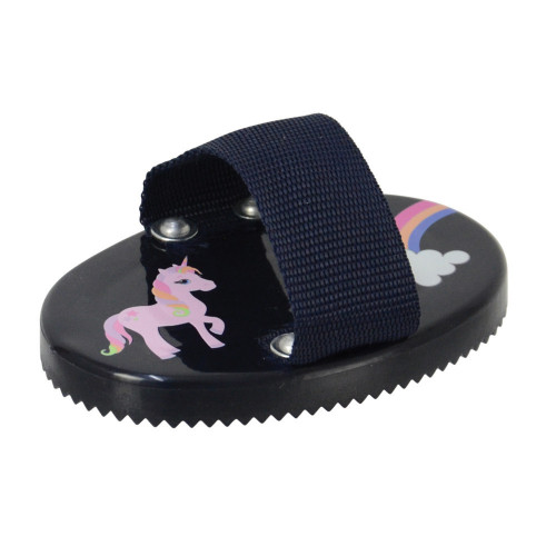 Little Unicorn Curry Comb by Little Rider - Navy/Pink - 12.4 x 8.5cm