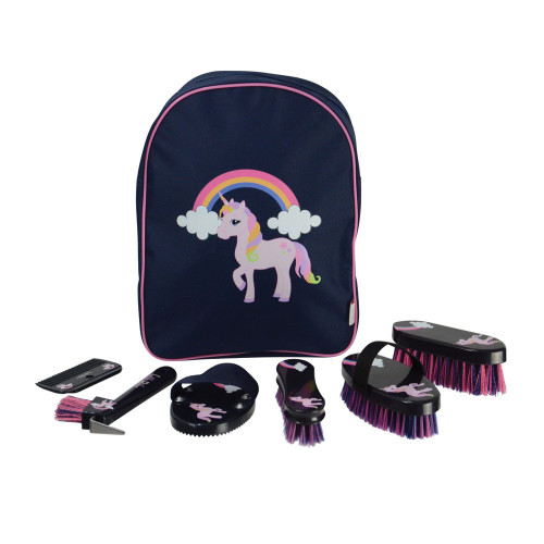 Little Unicorn Complete Grooming Kit Rucksack by Little Rider - Navy/Pink - One Size