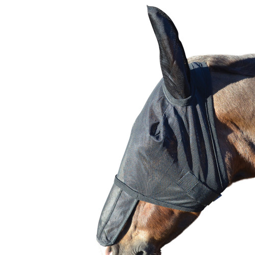 Hy Fly Mask with Sunshield & Ears - Black - Small
