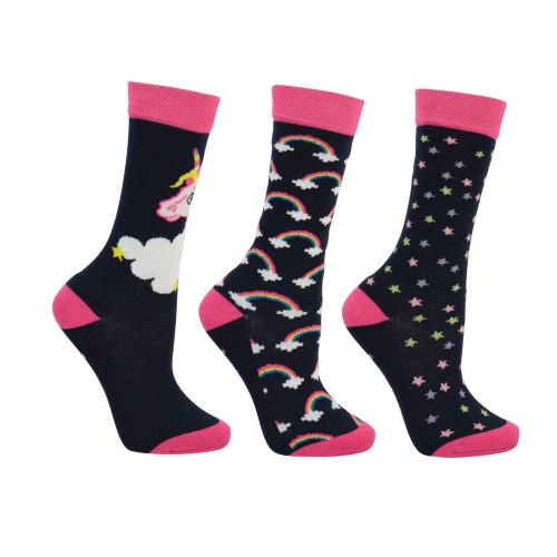 Little Unicorn Socks by Little Rider (Pack of 3) - Navy/Fuchsia Purple/Sap Green - Child 8-12