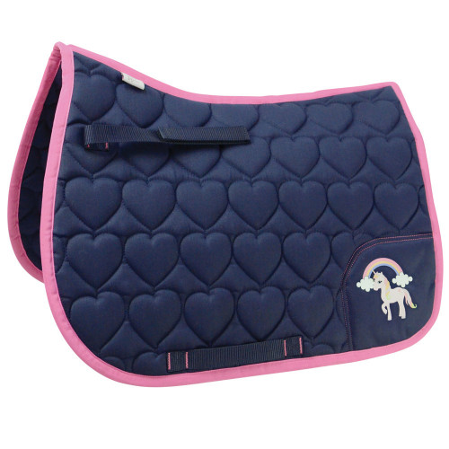 Little Unicorn Saddle Pad by Little Rider - Navy/Pink - Small Pony