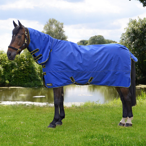StormX Original 100 Combi Turnout Rug in Royal Blue, Navy, Yellow in 4'6""