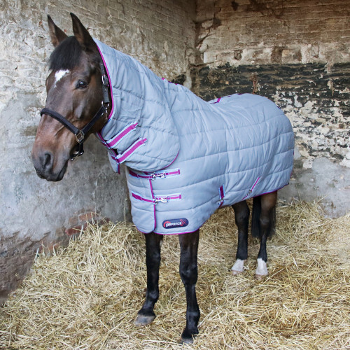 """DefenceX System 300 Combi Stable Rug in Grey, Berry and Cool Blue in 5'6"""""""