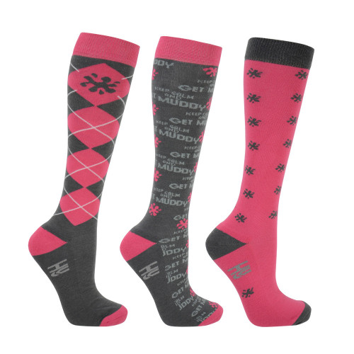 HyFASHION Keep Calm and Get Muddy Socks (Pack of 3) - Grey/Coral/Slate - Adult 4-8