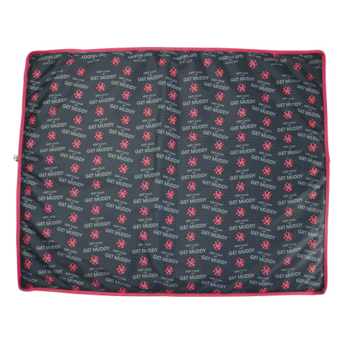 Hy Keep Calm and Get Muddy Dog Bed - Grey/Coral/Slate - 80 x 100cm