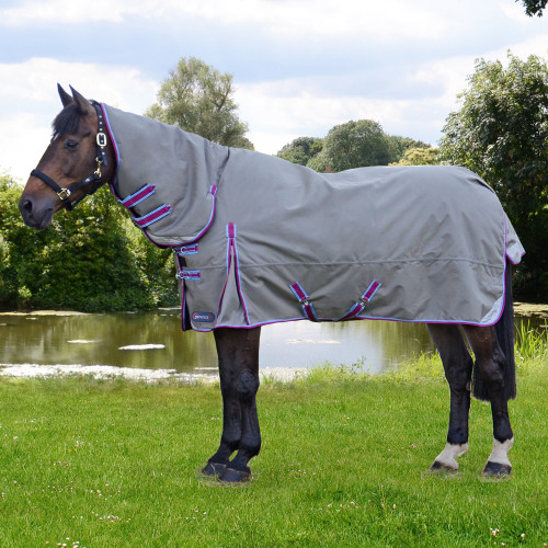 DefenceX System 300 Combi Turnout Rug in Grey, Berry and Cool Blue in 5'6""