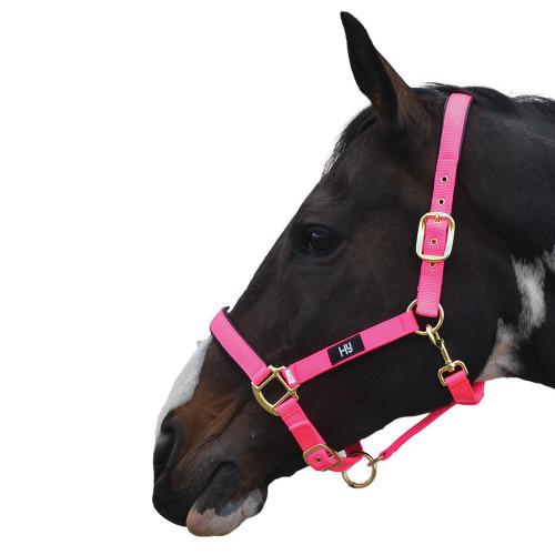Hy Grand Prix Head Collar - Hot Pink - Pony