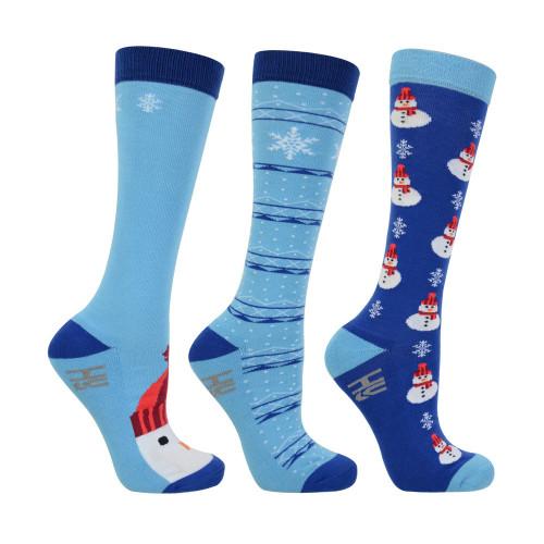 HyFASHION Christmas Mr Snowmen Socks (Pack of 3) - Navy/Sky Blue/Red/Orange - Adults 4-8