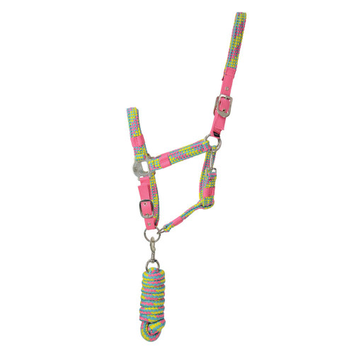 Hy Multicolour Adjustable Head Collar with Rope - Pink/Yellow/Teal - Pony
