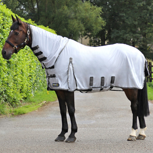 StormX Original Gladiator Fly Rug in White/Grey in 4'6""