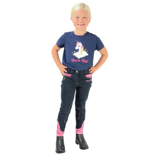 Unicorn Magic Breeches by Little Rider - Navy/Pretty Pink - 3-4 Years