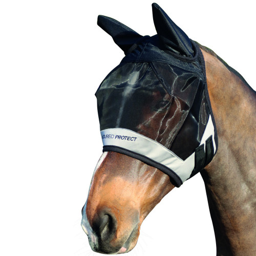 Hy Armoured Protect Half Mask with Ears - Black/Grey - Small Pony