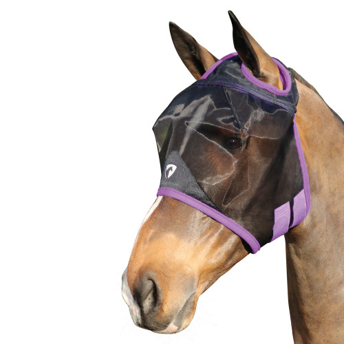 Hy Equestrian Mesh Half Mask without Ears - Black/Grape Royal - Small Pony