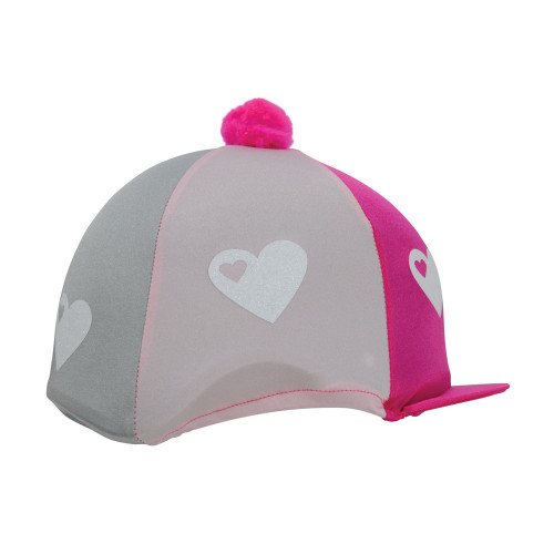 Hy Equestrian Glitter Hearts Hat Cover - Hot Pink/Pink/Silver - One Size