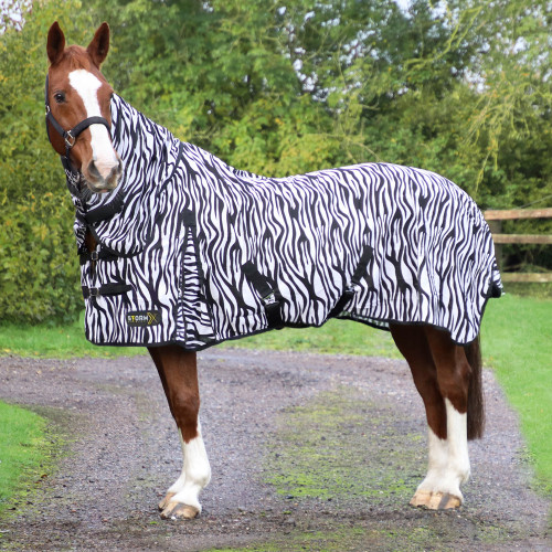StormX Original Zebra Print Fly Rug in Black/White in 4'6""