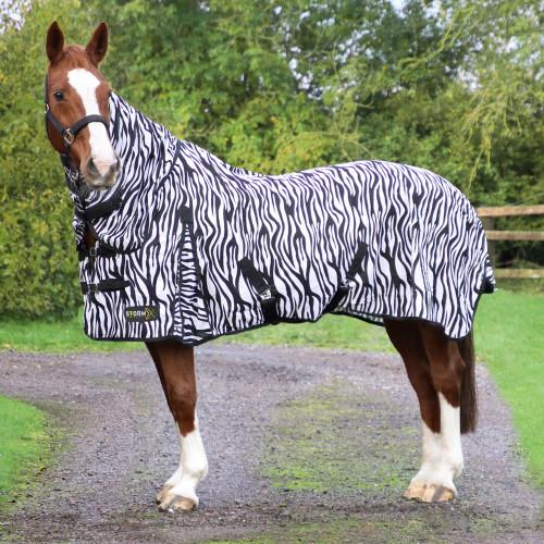 """StormX Original Zebra Print Fly Rug in Black/White in 4'0"""""""