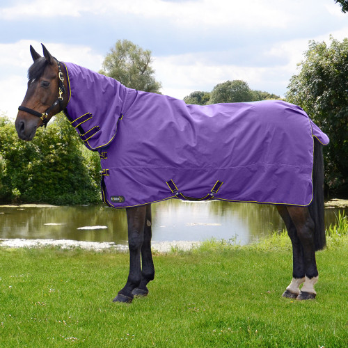StormX Original 50 Combi Turnout Rug in Purple, Dark Purple, Yellow in 4'6""