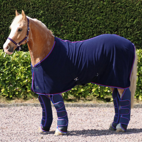 """Hy Signature Fleece Rug in Navy, Red and Blue in 4'6"""""""