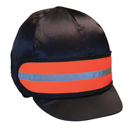 Front View Reflector Elasticated Hat Band by Hy Equestrian in One Size in Orange