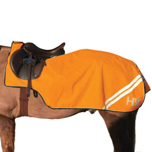 Close Up View Reflector Exercise Sheet by Hy Equestrian in Orange in 4'6