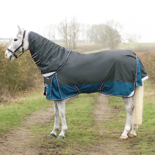 DefenceX System 50 Turnout Rug with Detachable Neck Cover - Dark Grey/Dark Teal - 5'6