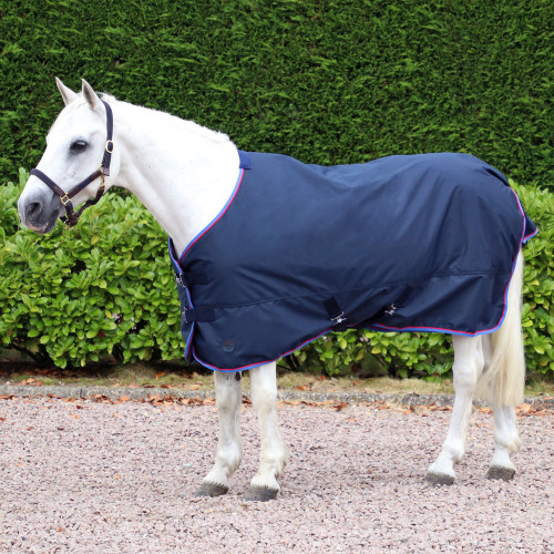 Hy Signature Lightweight 100g Turnout Rug in Navy, Red and Blue in 3'6
