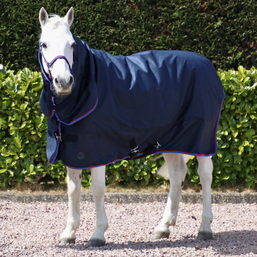 Hy Signature 200g Combi Turnout Rug in Navy, Red and Blue in 3'6