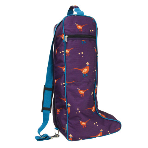 Hy Equestrian Patrick the Pheasant Boot Bag - Plum Wine/Turkish Teal/Amber Brown - One Size