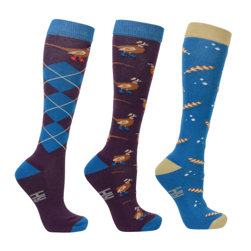 Hy Equestrian Patrick the Pheasant Socks (Pack of 3) - Plum Wine/Turkish Teal/Amber Brown - Adult 4-8