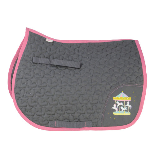 Merry Go Round Saddle Pad by Little Rider - Grey/Pink - Small Pony