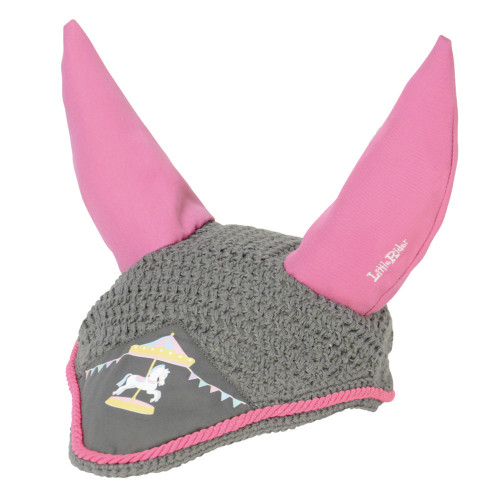 Merry Go Round Fly Veil by Little Rider - Grey/Pink - Small Pony