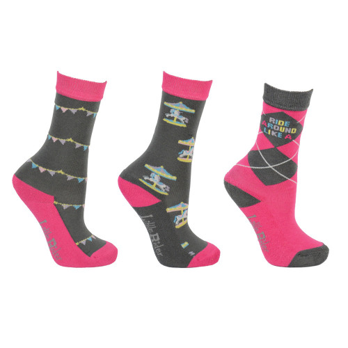 Merry Go Round Socks by Little Rider (Pack of 3) - Grey/Pink - Child 8-12
