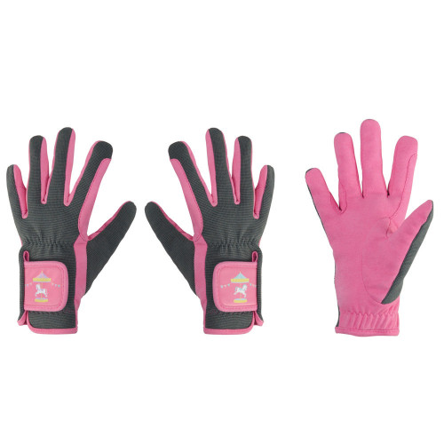 Merry Go Round Children's Riding Gloves by Little Rider - Grey/Pink - Child Small
