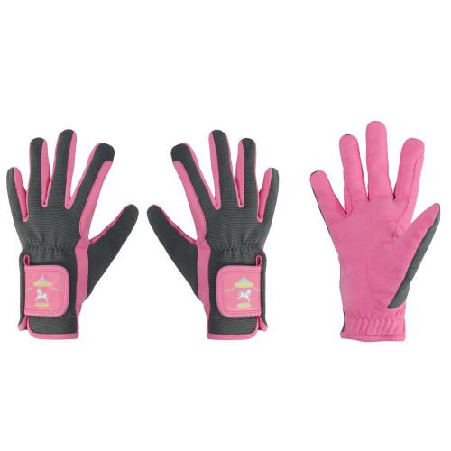 Merry Go Round Children's Riding Gloves by Little Rider - Grey/Pink - Child Small