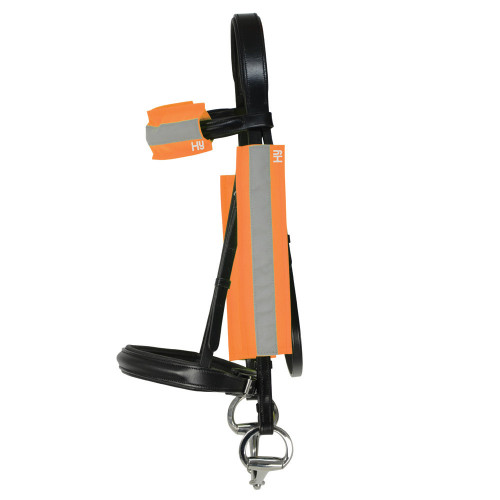 Side View Reflector Bridle Bands by Hy Equestrian in One Size in Orange
