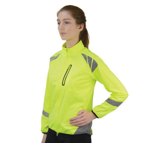 Front View Reflector Jacket by Hy Equestrian - Yellow in X Small