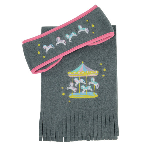 Merry Go Round Head Band and Scarf Set by Little Rider - Grey/Pink - One Size