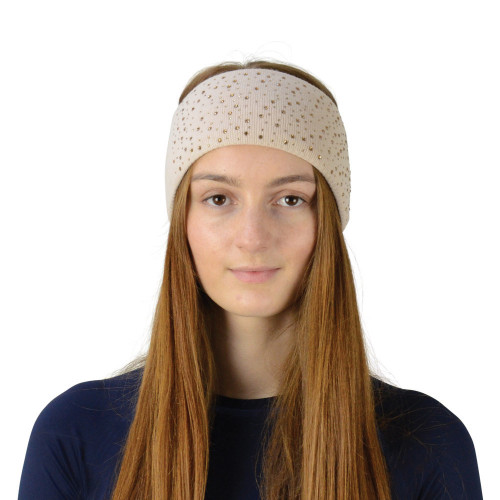 Hy Equestrian Alaska Diamante Headband - Beige/Gold - One Size