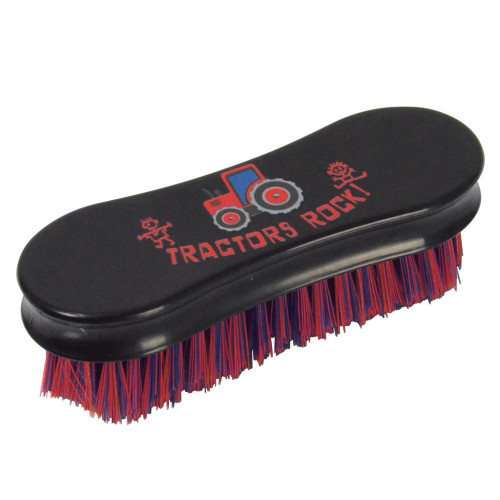 Tractors Rock Face Brush by Hy Equestrian - Navy/Red - 13.9 x 6.9cm