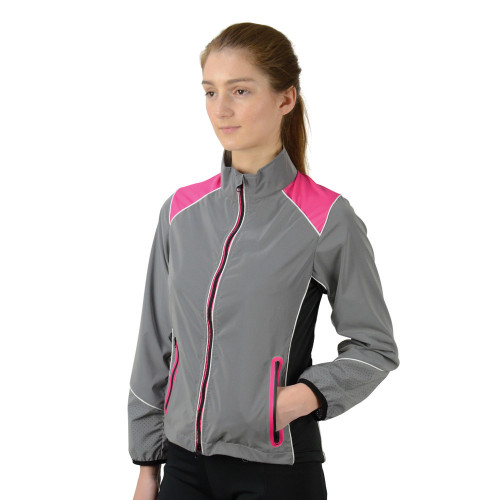 Outer View Silva Flash Two Tone Reflective Jacket by Hy Equestrian - Reflective Silver/Pink in X Small
