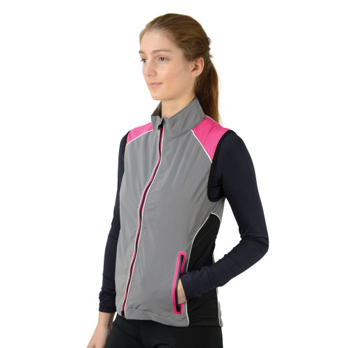 Front/Side detail Silva Flash Two Tone Reflective Gilet by Hy Equestrian - Reflective Silver/Pink in X Small