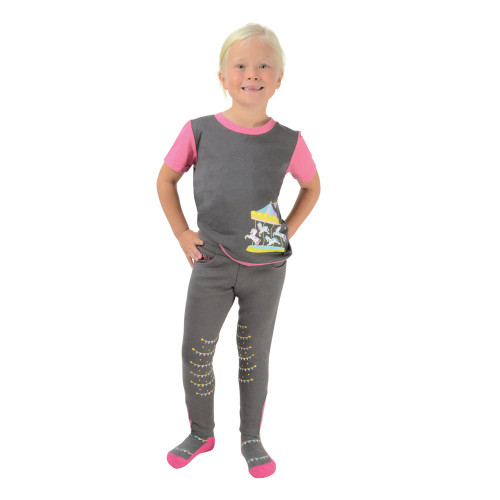 Merry Go Round T-Shirt by Little Rider - Grey/Pink - 3-4 years